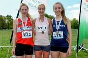 4 May 2019; Winner Catherina McKiernan of Annalee A.C, Cavan, with silver medallist Mary Mulhare of Portlaoise A.C. in Laois, left, and bronze medallist Bronagh Kearns of St. Senans A.C. in Kilkenny, right, after the Irish Runner 5k in conjunction with the AAI National 5k Championships, Phoenix Park in Dublin. Photo by Brendan Moran/Sportsfile