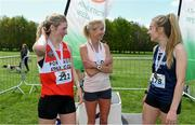 4 May 2019; Winner Catherina McKiernan of Annalee A.C, Cavan, with silver medallist Mary Mulhare of Portlaoise A.C. in Laois, left, and bronze medallist Bronagh Kearns of St. Senans A.C. in Kilkenny, after the Irish Runner 5k in conjunction with the AAI National 5k Championships, Phoenix Park in Dublin. Photo by Brendan Moran/Sportsfile