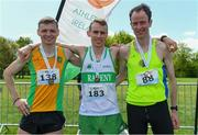 4 May 2019; Winner of the AAI Men's National 5k Championship Kieran Kelly of Raheny Shamrock A.C in Dublin with silver medallist Conor Duffy of Glaslough Harriers A.C. Monaghan, left, and bronze medallist Peter Arthur of Liffey Valley A.C. in Dublin, right, after the Irish Runner 5k in conjunction with the AAI National 5k Championships, Phoenix Park in Dublin. Photo by Brendan Moran/Sportsfile
