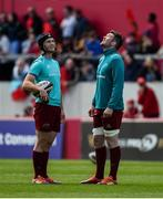4 May 2019; Tyler Bleyendaal, left, and Peter O'Mahony of Munster in conversation prior to the Guinness PRO14 quarter-final match between Munster and Benetton Rugby at Thomond Park in Limerick. Photo by Diarmuid Greene/Sportsfile