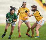 4 May 2019; Lisa Maguire of Fermanagh in action against Maria Hanna and Aoife Taggart of Antrim during the Lidl Ladies NFL Division 4 Final between Antrim and Fermanagh at St Tiernach's Park, Clones, Co.Monaghan. Photo by Oliver McVeigh/Sportsfile