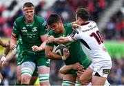 4 May 2019; Jarrad Butler of Connacht is tackled by Jordi Murphy and Billy Burns of Ulster during the Guinness PRO14 quarter-final match between Ulster and Connacht at Kingspan Stadium in Belfast. Photo by Brendan Moran/Sportsfile