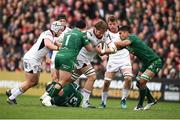 4 May 2019; Iain Henderson of Ulster is tackled by Denis Buckley, left, Tom Farrell, bottom, and Jarrad Butler of Connacht during the Guinness PRO14 quarter-final match between Ulster and Connacht at Kingspan Stadium in Belfast. Photo by David Fitzgerald/Sportsfile