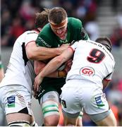 4 May 2019; Gavin Thornbury of Connacht is tackled by Iain Henderson and John Cooney of Ulster during the Guinness PRO14 quarter-final match between Ulster and Connacht at Kingspan Stadium in Belfast. Photo by Brendan Moran/Sportsfile