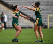 4 May 2019; Shauna Ennis and Mari O'Shaghnessy of Meath celebrate after the final whistle in the Lidl Ladies NFL Division 3 Final between Meath and Sligo at St Tiernach's Park, Clones in Monaghan. Photo by Oliver McVeigh/Sportsfile