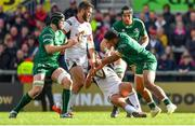 4 May 2019; Bundee Aki of Connacht tackles Billy Burns of Ulster resulting in a penalty during the Guinness PRO14 quarter-final match between Ulster and Connacht at Kingspan Stadium in Belfast. Photo by Brendan Moran/Sportsfile