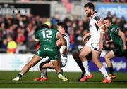 4 May 2019; Billy Burns of Ulster is tackled by Bundee Aki of Connacht resulting in a penalty during the Guinness PRO14 quarter-final match between Ulster and Connacht at Kingspan Stadium in Belfast. Photo by David Fitzgerald/Sportsfile
