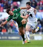 4 May 2019; John Cooney of Ulster is tackled by Colby Fainga'a of Connacht during the Guinness PRO14 quarter-final match between Ulster and Connacht at Kingspan Stadium in Belfast. Photo by Brendan Moran/Sportsfile