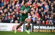 4 May 2019; Bundee Aki of Connacht on his way to scoring his side's first try during the Guinness PRO14 quarter-final match between Ulster and Connacht at Kingspan Stadium in Belfast. Photo by David Fitzgerald/Sportsfile