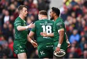 4 May 2019; Bundee Aki of Connacht is congratulated by team-mates after scoring his side's first try during the Guinness PRO14 quarter-final match between Ulster and Connacht at Kingspan Stadium in Belfast. Photo by David Fitzgerald/Sportsfile