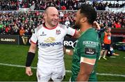 4 May 2019; Rory Best of Ulster and Bundee Aki of Connacht following the Guinness PRO14 quarter-final match between Ulster and Connacht at Kingspan Stadium in Belfast. Photo by David Fitzgerald/Sportsfile