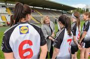 4 May 2019; Ladies Gaelic Football Association President Marie Hickey with Ann Marie Coleman of Sligo before the Lidl Ladies NFL Division 3 Final between Meath and Sligo at St Tiernach's Park, Clones in Monaghan. Photo by Matt Browne/Sportsfile
