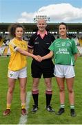 4 May 2019; Referee Shane Curley with Saoirse Tennyson captain of Antrim and Fermanagh captain Joanne Donnan before the Lidl Ladies NFL Division 4 Final between Antrim and Fermanagh at St Tiernach's Park, Clones, Co.Monaghan. Photo by Matt Browne/Sportsfile