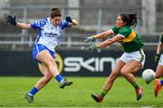 5 May 2019; Michelle Ryan of Waterford scores her side's first goal past Aislinn Desmond of Kerry during the Lidl Ladies National Football League Division 2 Final match between Kerry and Waterford at Parnell Park in Dublin. Photo by Brendan Moran/Sportsfile