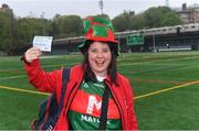 5 May 2019; First Mayo supporter into the ground Annette Garvey, from Crossboyne, Claremorris, with her ticket at 8.15am for the 2.15pm throw-in of the Connacht GAA Football Senior Championship Quarter-Final match between New York and Mayo at Gaelic Park in New York, USA. Photo by Piaras Ó Mídheach/Sportsfile