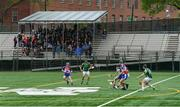 5 May 2019; Spectators in the sheltered section of the stand look on during the 9am match between NY Development Squad and Allentown, Philadelphia, in a hurling exhibition game ahead of the Connacht GAA Football Senior Championship Quarter-Final match between New York and Mayo at Gaelic Park in New York, USA. Photo by Piaras Ó Mídheach/Sportsfile