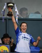 5 May 2019; Maria Delahunty of Waterford lifts the cup during the Lidl Ladies National Football League Division 2 Final match between Kerry and Waterford at Parnell Park in Dublin. Photo by Ray McManus/Sportsfile