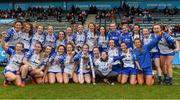 5 May 2019; The Waterford team celebrate with the Division 2 cup after the Lidl Ladies National Football League Division 2 Final match between Kerry and Waterford at Parnell Park in Dublin. Photo by Brendan Moran/Sportsfile
