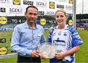 5 May 2019; Paul Lazar, Deputy Store Manager, Lidl Coolock, presents the Player of the Match to Maria Delahunty of Waterford after the Lidl Ladies National Football League Division 2 Final match between Kerry and Waterford at Parnell Park in Dublin. Photo by Ray McManus/Sportsfile