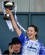5 May 2019; Waterford captain Karen McGrath lifts the Division 2 cup after the Lidl Ladies National Football League Division 2 Final match between Kerry and Waterford at Parnell Park in Dublin. Photo by Brendan Moran/Sportsfile