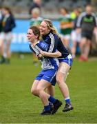 5 May 2019; Eimear Fennell of Waterford and her team mate Megan Dunford celebrate after the Lidl Ladies National Football League Division 2 Final match between Kerry and Waterford at Parnell Park in Dublin. Photo by Ray McManus/Sportsfile