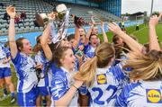 5 May 2019; Waterford players celebrate with the Division 2 cup after the Lidl Ladies National Football League Division 2 Final match between Kerry and Waterford at Parnell Park in Dublin. Photo by Brendan Moran/Sportsfile