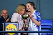 5 May 2019; Waterford captain Karen McGrath is presented with the cup by Marie Hickey, President, LGFA, after the Lidl Ladies National Football League Division 2 Final match between Kerry and Waterford at Parnell Park in Dublin. Photo by Brendan Moran/Sportsfile