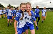5 May 2019; Aileen Wall, left, and Chloe Fennell of Waterford celebrate after the Lidl Ladies National Football League Division 2 Final match between Kerry and Waterford at Parnell Park in Dublin. Photo by Brendan Moran/Sportsfile