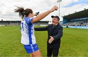 5 May 2019; Former Waterford manager Micheal Ryan celebrates with his daughter Michelle after the Lidl Ladies National Football League Division 2 Final match between Kerry and Waterford at Parnell Park in Dublin. Photo by Brendan Moran/Sportsfile