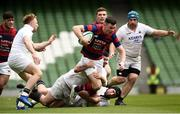 5 May 2019; Matthew Darcy of Clontarf is tackled by Dylan Murphy and Evan Mintern of Cork Constitution during the All-Ireland League Division 1 Final match between Cork Constitution and Clontarf at the Aviva Stadium in Dublin. Photo by Oliver McVeigh/Sportsfile