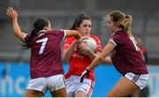 5 May 2019; Ciara O'Sullivan of Cork in action against Charlotte Cooney and Mairead Seoighe of Galway during the Lidl Ladies National Football League Division 1 Final match between Cork and Galway at Parnell Park in Dublin. Photo by Brendan Moran/Sportsfile