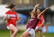 5 May 2019; Shauna Kelly of Cork in action against Sarah Conneally of Galway during the Lidl Ladies National Football League Division 1 Final match between Cork and Galway at Parnell Park in Dublin. Photo by Ray McManus/Sportsfile