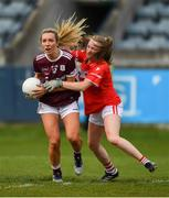 5 May 2019; Megan Glynn of Galway in action against Eimear Kiely of Cork during the Lidl Ladies National Football League Division 1 Final match between Cork and Galway at Parnell Park in Dublin. Photo by Ray McManus/Sportsfile