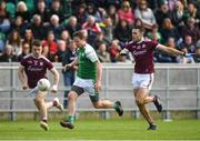 5 May 2019; Mark Gottsche of London in action against Eoghan Kerin, left, and  Fiontán Ó Curraoin of Galway during the Connacht GAA Football Senior Championship Quarter-Final match between London and Galway at McGovern Park in Ruislip, London, England. Photo by Harry Murphy/Sportsfile