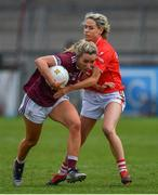 5 May 2019; Megan Glynn of Galway in action against Orla Finn of Cork during the Lidl Ladies National Football League Division 1 Final match between Cork and Galway at Parnell Park in Dublin. Photo by Brendan Moran/Sportsfile