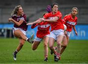 5 May 2019; Megan Glynn of Galway has a shot blocked by Aishling Hutchings and Ciara O'Sullivan of Cork during the Lidl Ladies National Football League Division 1 Final match between Cork and Galway at Parnell Park in Dublin. Photo by Brendan Moran/Sportsfile