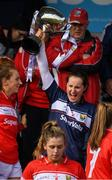 5 May 2019; Cork captain Martina O'Brien lifts the cup after the presentation after the Lidl Ladies National Football League Division 1 Final match between Cork and Galway at Parnell Park in Dublin. Photo by Ray McManus/Sportsfile