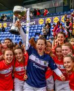 5 May 2019; The Cork captain Martina O'Brien with team mates after the Lidl Ladies National Football League Division 1 Final match between Cork and Galway at Parnell Park in Dublin. Photo by Ray McManus/Sportsfile