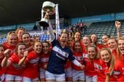 5 May 2019; Cork captain Martina O'Brien and her team-mates celebrate with the Division 1 cup after the Lidl Ladies National Football League Division 1 Final match between Cork and Galway at Parnell Park in Dublin. Photo by Brendan Moran/Sportsfile