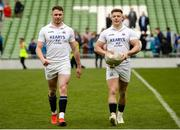 5 May 2019; Sean French, left, and Liam O'Connell of Cork Constitution leaving the pitch with the cup after the All-Ireland League Division 1 Final match between Cork Constitution and Clontarf at the Aviva Stadium in Dublin. Photo by Oliver McVeigh/Sportsfile