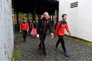 5 May 2019; Mayo manager James Horan, left, and Mayo GAA PRO Paul Cunnane arrive before the Connacht GAA Football Senior Championship Quarter-Final match between New York and Mayo at Gaelic Park in New York, USA. Photo by Piaras Ó Mídheach/Sportsfile