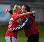 5 May 2019; Saoirse Noonan of Cork is congratulated by Cork manager Ephie Fitzgerald after the Lidl Ladies National Football League Division 1 Final match between Cork and Galway at Parnell Park in Dublin. Photo by Ray McManus/Sportsfile