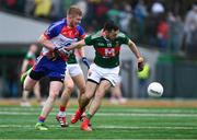 5 May 2019; Kevin McLoughlin of Mayo in action against Paddy Boyle of New York during the Connacht GAA Football Senior Championship Quarter-Final match between New York and Mayo at Gaelic Park in New York, USA. Photo by Piaras Ó Mídheach/Sportsfile
