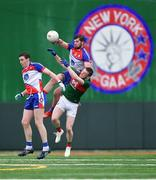 5 May 2019; Niall Madine of New York, supported by team-mate Seán Hurley, left, in action against Matthew Ruane of Mayo during the Connacht GAA Football Senior Championship Quarter-Final match between New York and Mayo at Gaelic Park in New York, USA. Photo by Piaras Ó Mídheach/Sportsfile