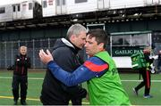 5 May 2019; Mayo manager James Horan with New York manager Justin O'Halloran after the Connacht GAA Football Senior Championship Quarter-Final match between New York and Mayo at Gaelic Park in New York, USA. Photo by Piaras Ó Mídheach/Sportsfile