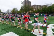 5 May 2019; Team captains Paddy Durcan of Mayo and Niall Madine of New York lead their sides in the parade before the Connacht GAA Football Senior Championship Quarter-Final match between New York and Mayo at Gaelic Park in New York, USA. Photo by Piaras Ó Mídheach/Sportsfile