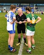 5 May 2019; The two captains, Emma Murray of Waterford and Amanda Brosnan of Kerry,with referee Gus Chapman before the Lidl Ladies National Football League Division 2 Final match between Kerry and Waterford at Parnell Park in Dublin. Photo by Ray McManus/Sportsfile