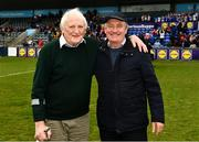 5 May 2019; Brendan Martin, a native of Tullamore, County Offaly, who organised Ladies' Gaelic football games in the early 1970s and became one of the first treasurers of the then newly founded Ladies' Gaelic Football Association, is photographed with former Waterford manager Micheal Ryan, right, after the Lidl Ladies National Football League Division 2 Final match between Kerry and Waterford at Parnell Park in Dublin. Photo by Ray McManus/Sportsfile