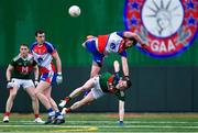 5 May 2019; Niall Madine of New York in action against Matthew Ruane of Mayo, as Paddy Durcan of Mayo and Seán Hurley of New York look on, during the Connacht GAA Football Senior Championship Quarter-Final match between New York and Mayo at Gaelic Park in New York, USA. Photo by Piaras Ó Mídheach/Sportsfile