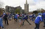 6 May 2019; A flash mob of hurling and camogie players young and old descended on St. Patrick's Cathedral and Dublin City Council Offices to highlight the lack of green space in Dublin 8. The flash mob was organised by Kevin's Hurling and Camogie Club to highlight their opposition to Templeogue Synge Street Gaelic Football Club's proposed redevelopment of Dolphin Park. Photo by Ray McManus/Sportsfile